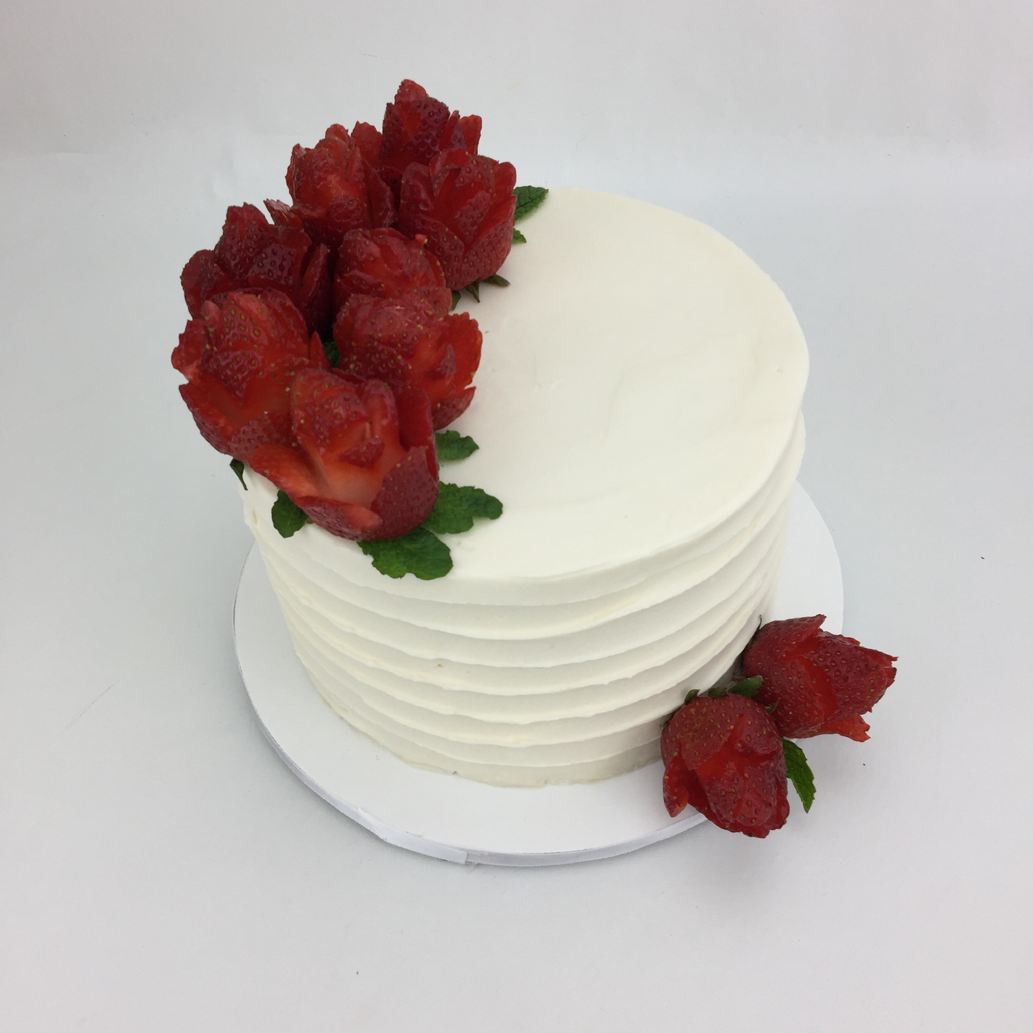 Fresh Strawberry Rose Cake