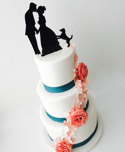 Coral Sugar Flower Wedding Cake