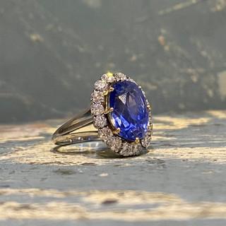 Bague saphir ceylan naturel 8 carats et diamants