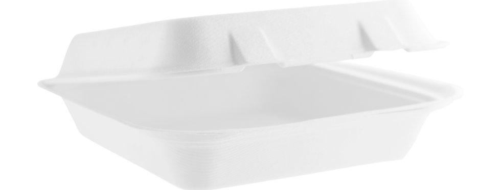20cm-es négyszögletes komposztálható cukornád elviteles doboz 74,4Ft/db