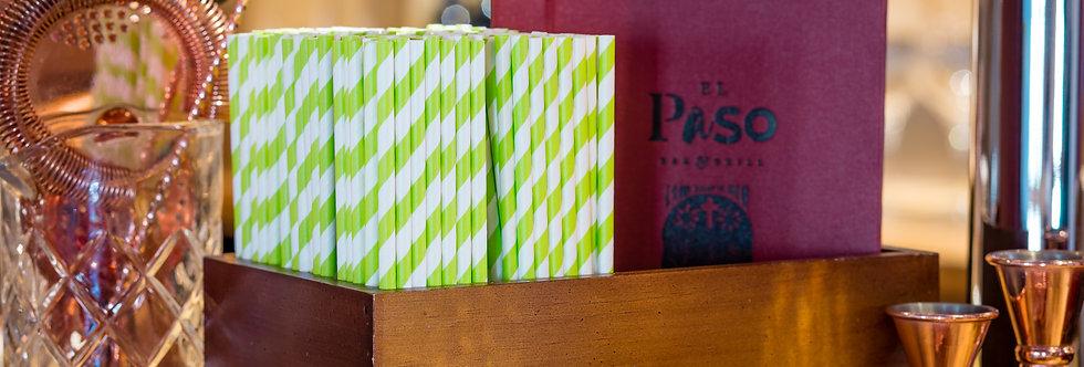 zöld-fehér csíkos komposztálható papír szívószál 200mm hossz 12Ft/db