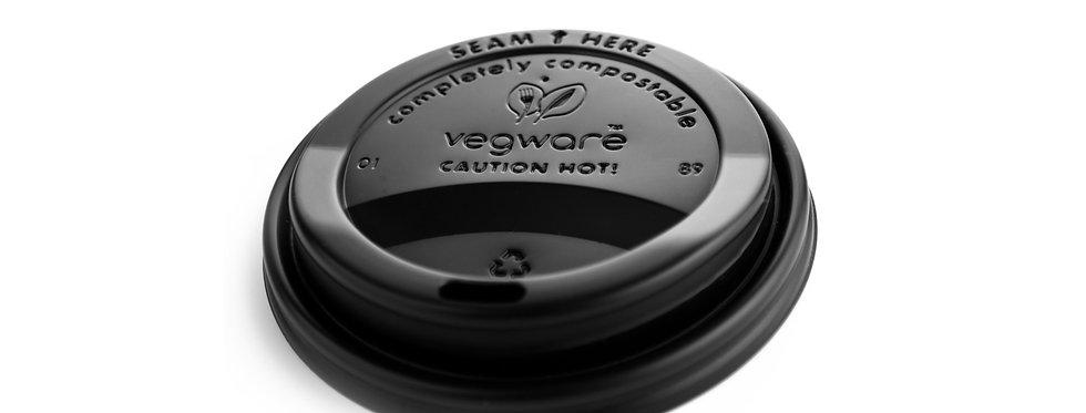 89mm-es fekete komposztálható CPLA anyagú kávés pohártető 22,5 Ft/db