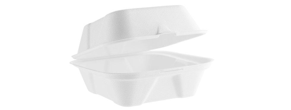 13cm-es komposztálható cukornád hamburgeres doboz 33Ft/db