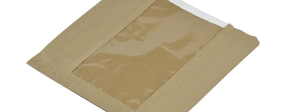 20,3x20,3cm lebomló Natureflex ablakú papírzacskó 11,5Ft/db