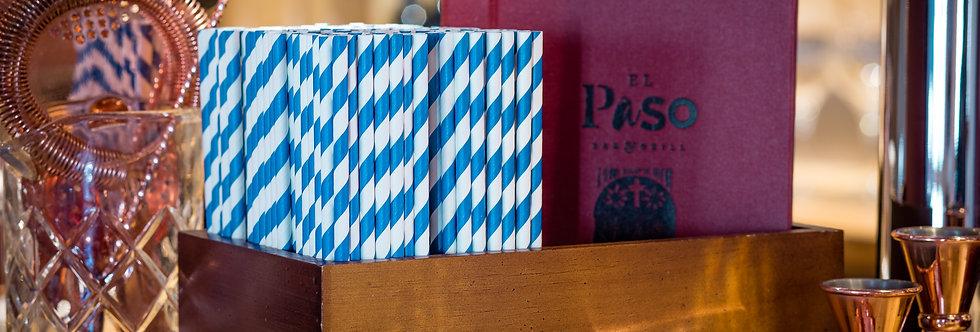 kék-fehér csíkos komposztálható papír szívószál 200mm hossz 12Ft/db