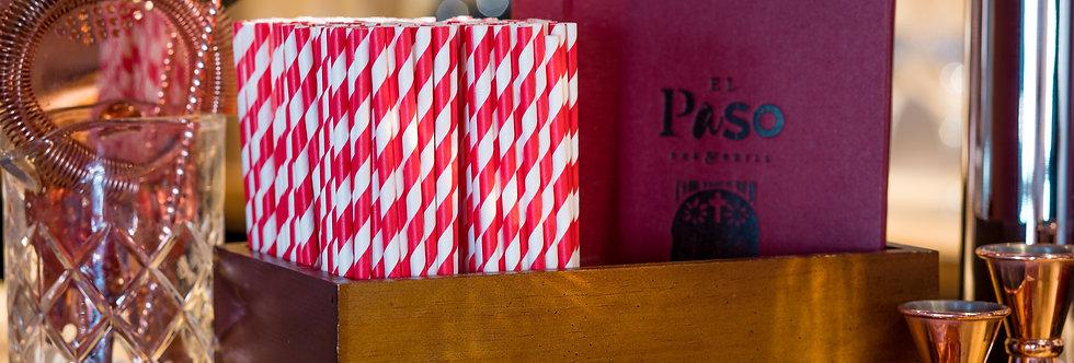 piros-fehér csíkos komposztálható papír szívószál 200mm hossz 12Ft/db