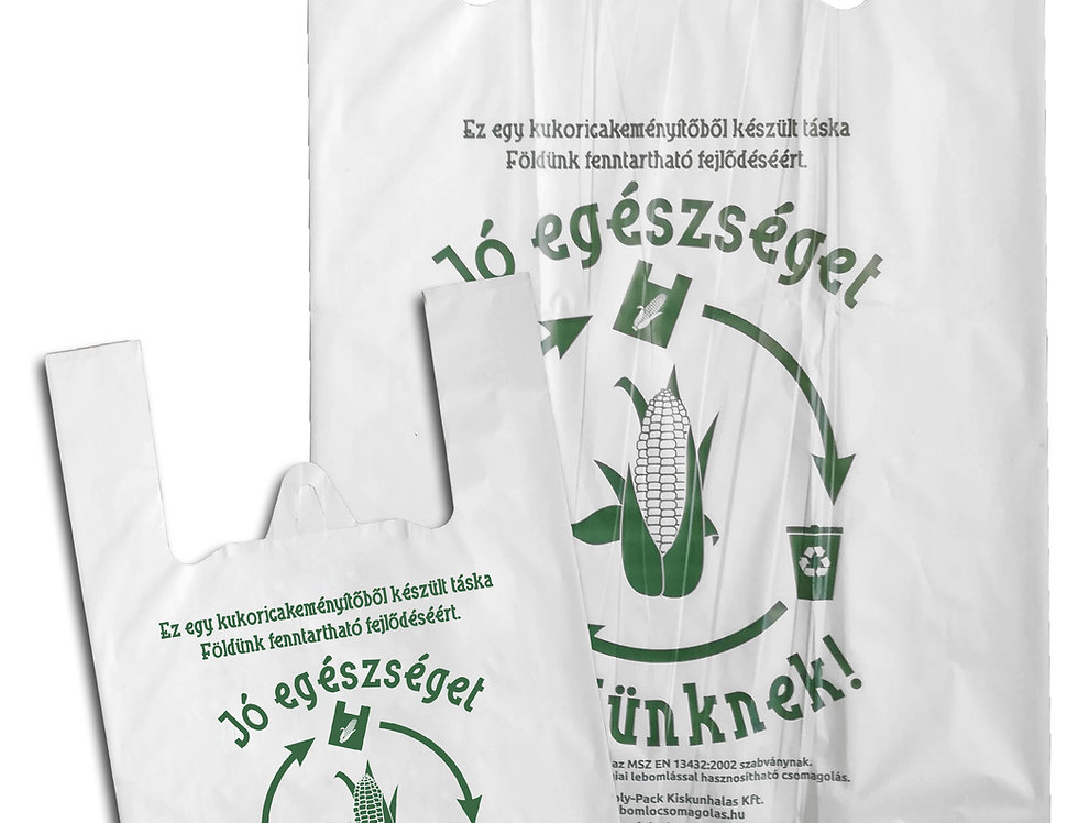 Kukoricakeményítőből készült ingvállas táska 19x35 cm 14 Ft/db