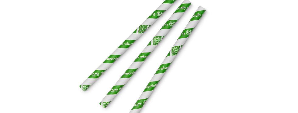 10 mm-es zöld komposztálható papír szívószál 7 Ft/db
