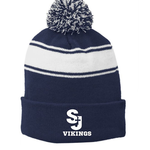 Winter knit pom hat with embroidered logo