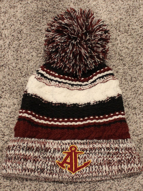 Avon Lake Tri-color Knitted Pom Hat