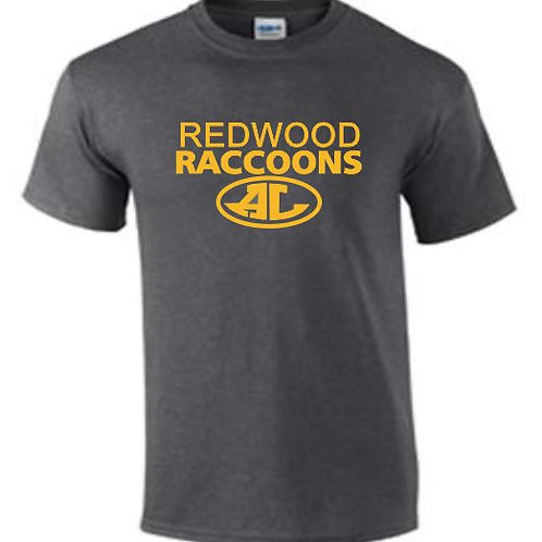 DARK GREY MOISTURE WICK REDWOOD RACCOONS T-SHIRT
