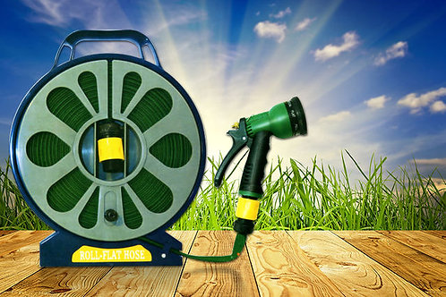 50ft Garden Flat Hose & Spray Nozzle