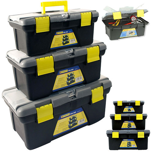 3PC PLASTIC TOOL BOX CHEST SET