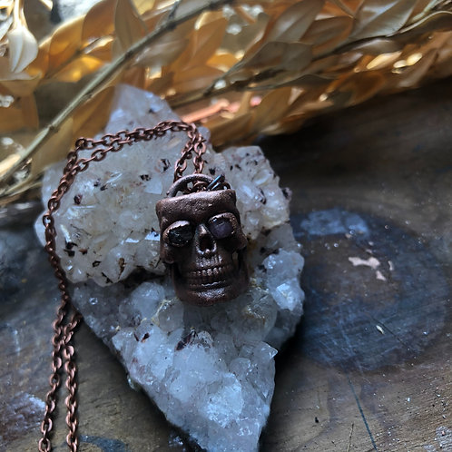 Copper Skeleton Face Pendant