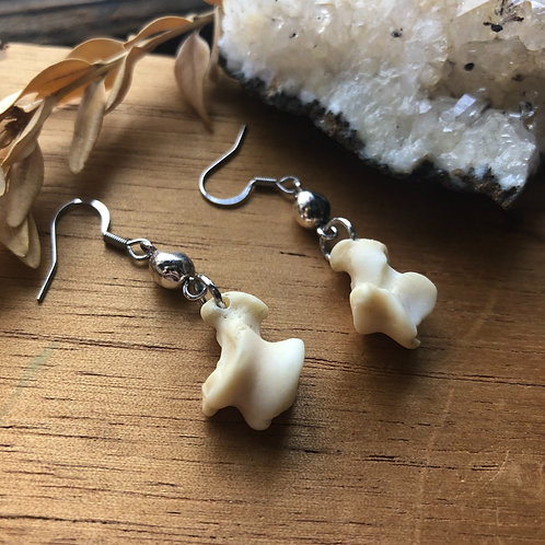 Raccoon Foot Bone and Vintage Accent Earrings