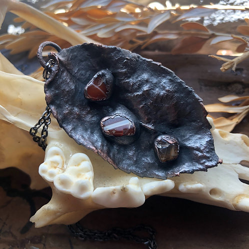 Leaf and Stone Copper Pendant Necklace