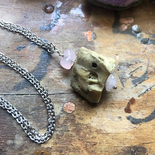 Human Foot Bone and Stone Necklace