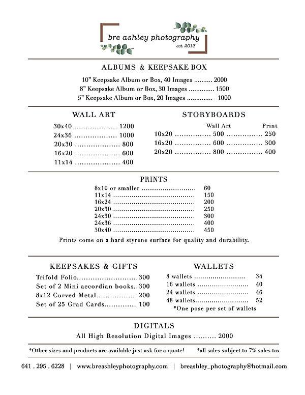 Price Menu - MAIN SIMPLIFIED PRICE SHEET