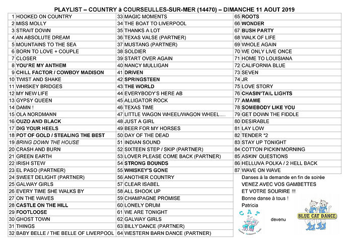PLAYLIST COUNTRY DIMANCHE 11-08-2019 pay