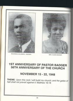 1st Anniversary of pastor badger
