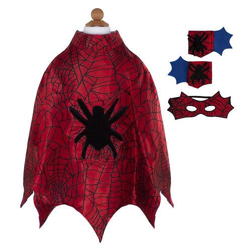 Cape Spiderman avec masque et poignets 3-4 ans