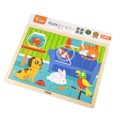16 pcs - Puzzle de bois Animaux de compagnie