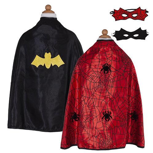 Cape réversible Spiderman/Batman avec masque 3-4 ans