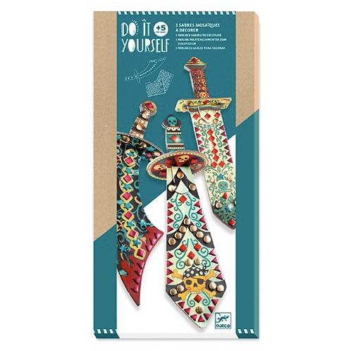 Djeco - Do it yourself - 3 Sabres Mosaiques à décorer