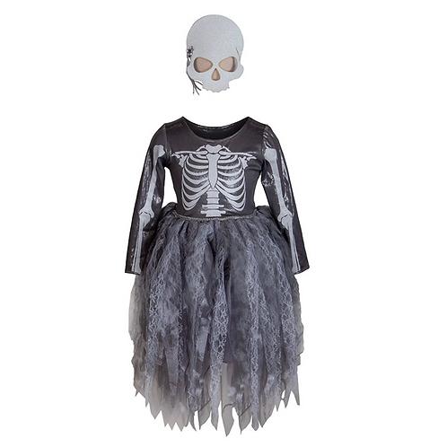Robe de Sorcière squelette avec masque 3-4 ans