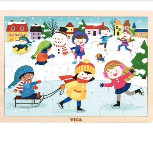 24 pcs - Puzzle de bois L'hiver