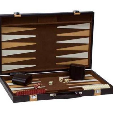 CHH Games - Jeu de backgammon de 18'' Mallette en cuir brun