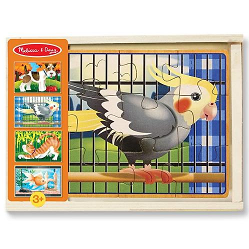 12 pcs - 4 puzzles de bois dans une boîte - Animaux de compagnies