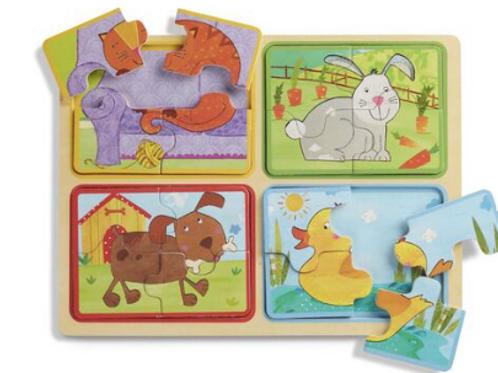 4 Puzzles en bois de 4pcs  - Animaux Familiers