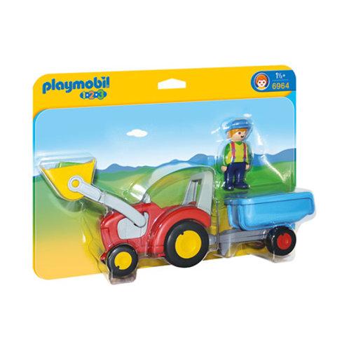 PLAYMOBIL - 1-2-3 - Fermier avec tracteur et remorque
