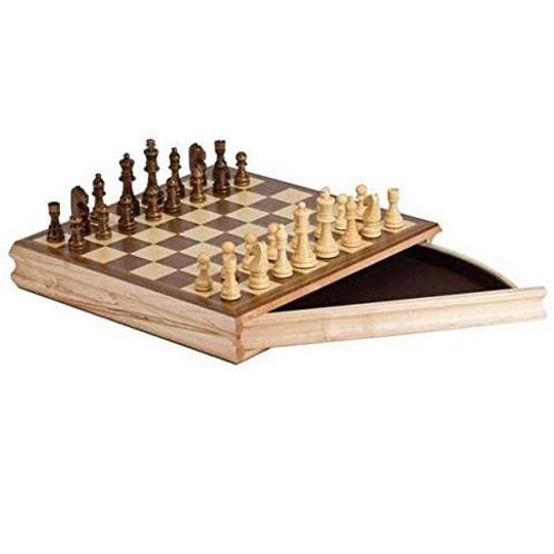 CHH - Jeu d'échecs en bois avec tiroir