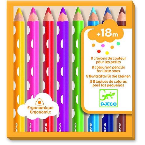 Djeco - 8 Crayons de couleurs en bois pour les petits