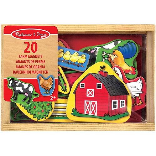 20 aimants de la ferme  en bois