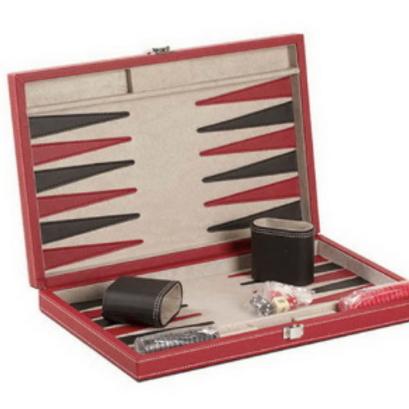 CHH Games - Jeu de backgammon de 15'' Mallette en cuir Rouge et beige