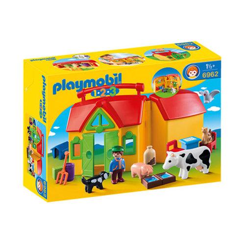 PLAYMOBIL - 1-2-3 - Ferme transportable avec animaux