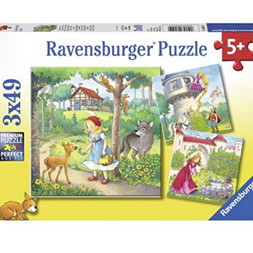 3x49 pcs Rapunzel, Chaperon Rouge, princesse et grenouille