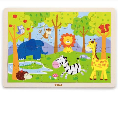 24 pcs - Puzzle de bois Safari