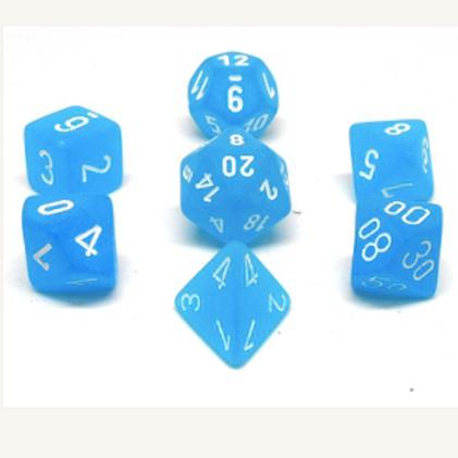 Ensemble de 7 dés polyédriques bleu des Caraibes avec chiffres blancs