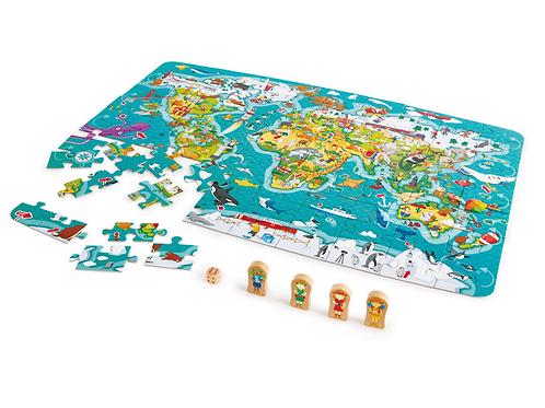 105 pas - Puzzle et Jeu 2-en-1 Tour du monde