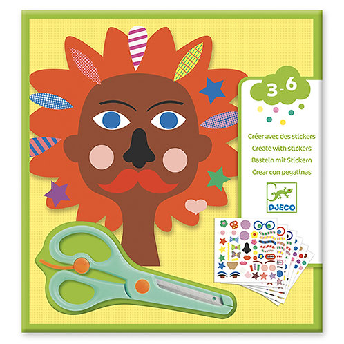 Djeco - Créer avec des stickers - Coiffeur avec ciseaux