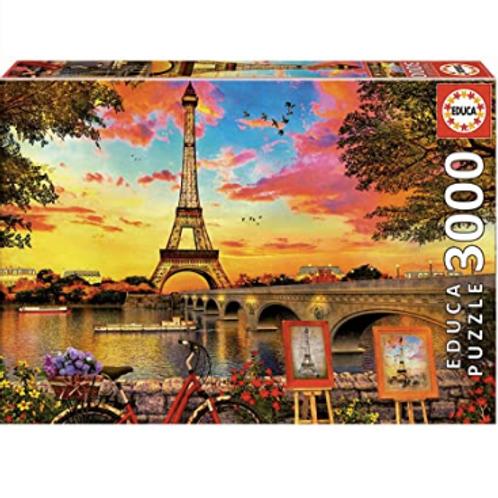 3000 pcs - Coucher de soleil à Paris - Educa