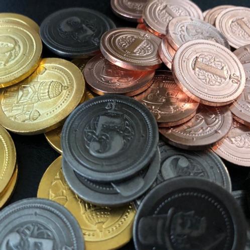 Board Game Upgrade Metal Industrial Coins (50 pieces) / Pièces de monnaies