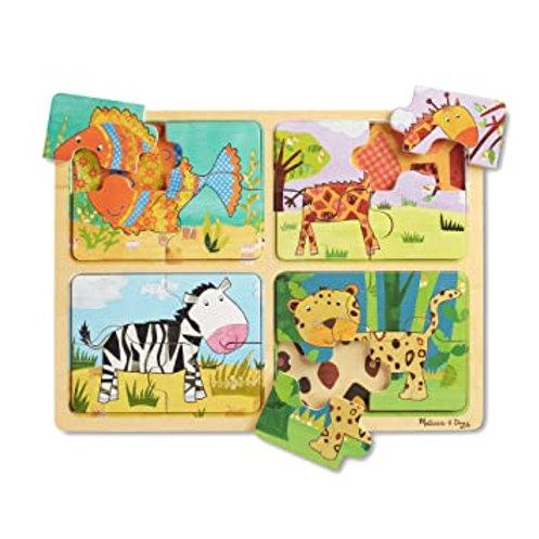 4 Puzzles en bois de 4pcs  - Motifs d'animaux