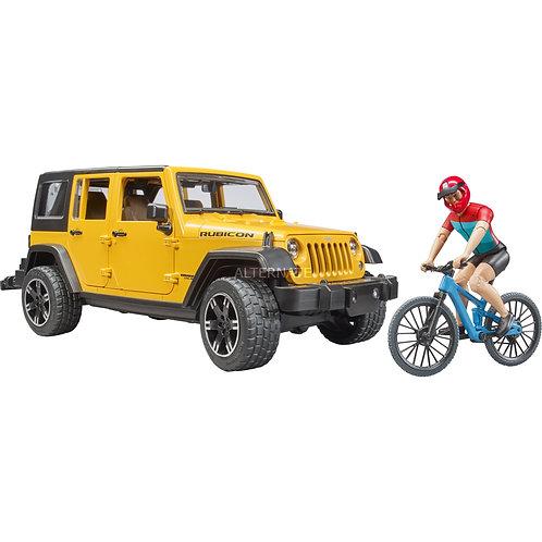 Bruder - Jeep Rubicon avec vélo de montagne et cycliste