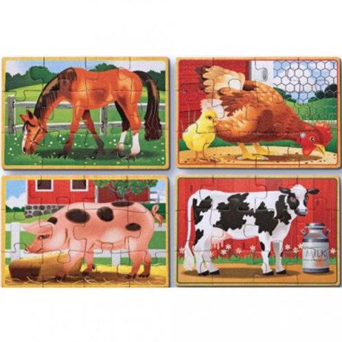 12 pcs - 4 puzzles de bois dans une boîte - Ferme