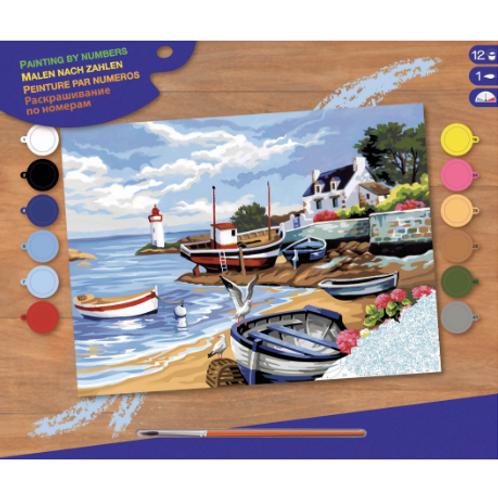 Peinture à numéros senior - Village de pêcheurs